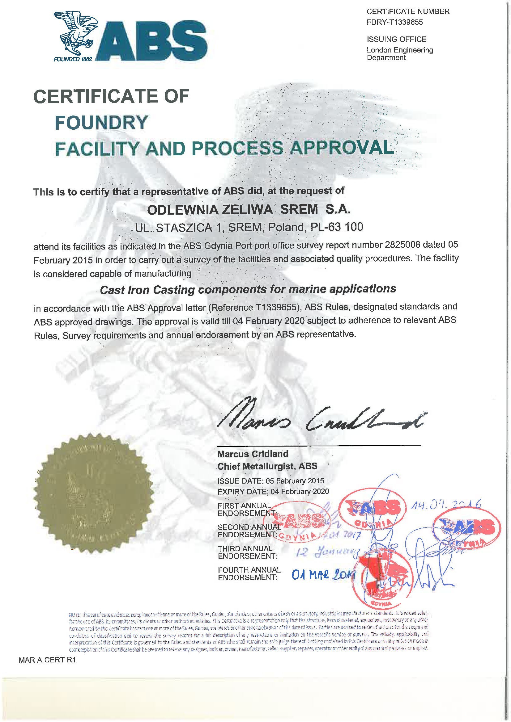 Certificate of Foundry Facility and Process Approval