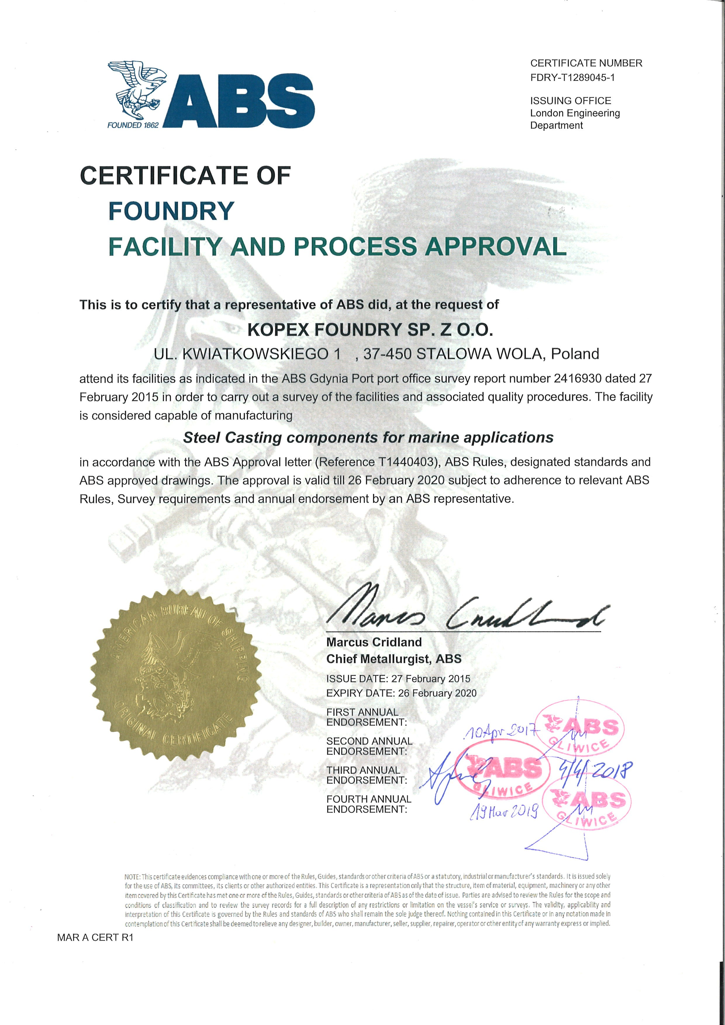 ABS Certificate of Foundry Facility and Process Aproval for Odlewnia Staliwa
