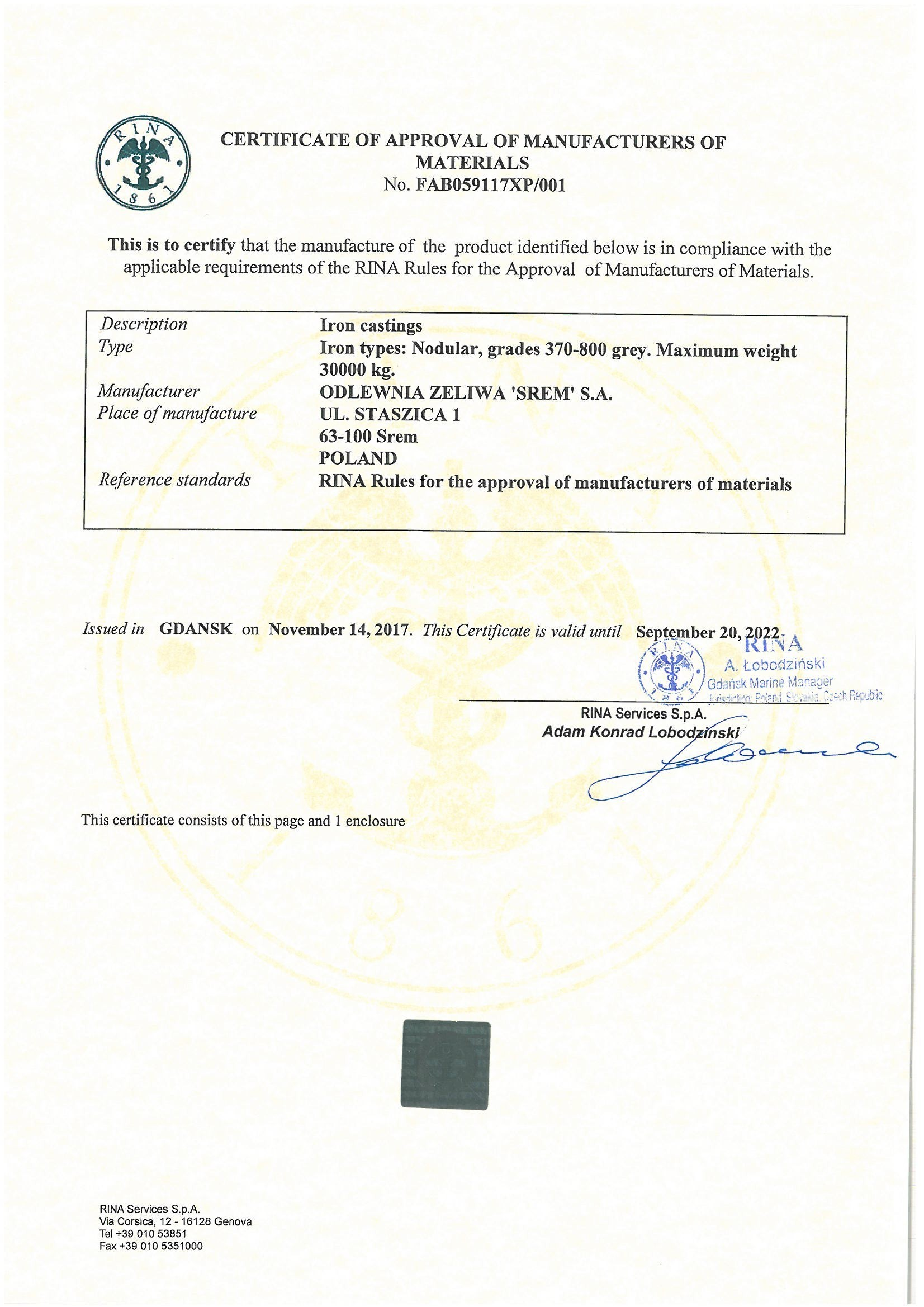 Certificate of Approval of Manufacturers of Materials