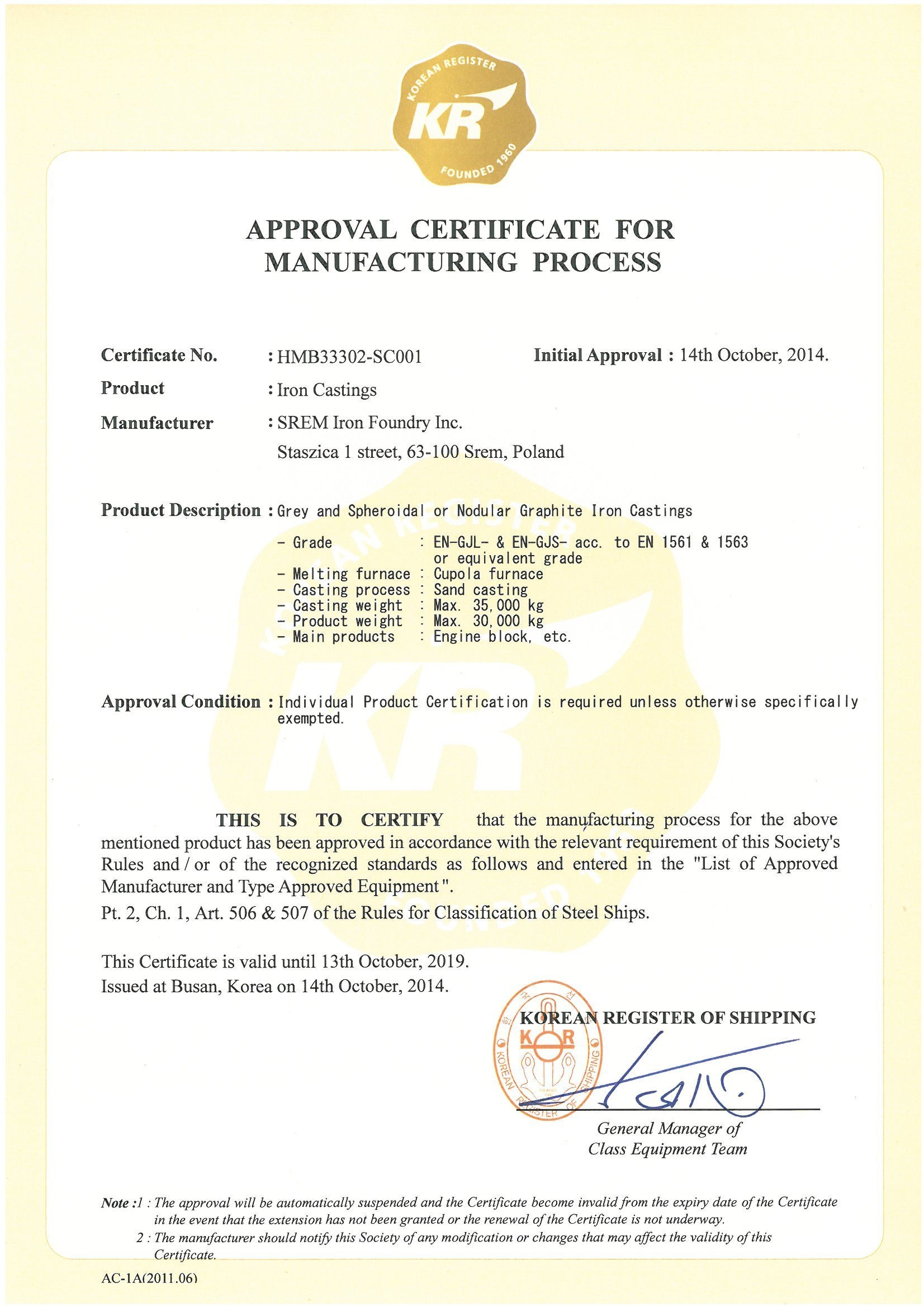 Approval Certificate for Manufacturing Process